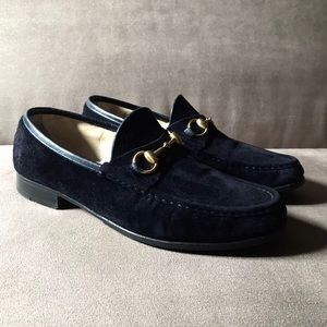 Gucci Suede Midnight Black Horsebit Loafers